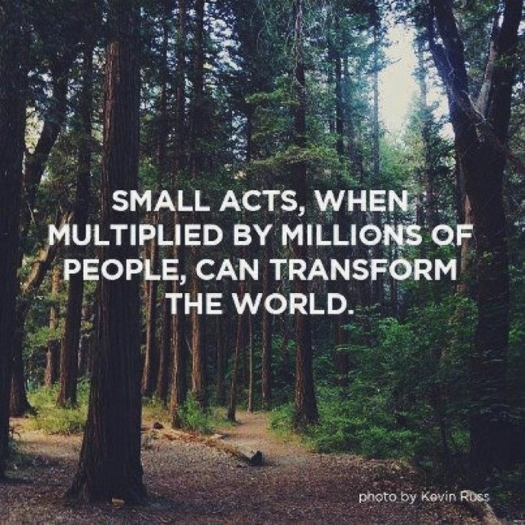 """Quote """"small acts when multiplied by millions of people can transform the world"""""""