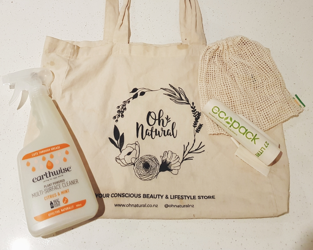 Image of reusable tote shopping bag, mesh fruit bag, biodegradable bin liners and plant powered citrus multi cleaner