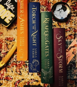 Flat lay photo of the 4 books in the ember quartet by Sabaa Tahir